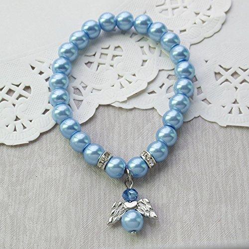 (Glass Pearl Blue Angel Bracelet Favor First Communion/Baptism/Christening/Baby Shower/Wedding /Mis Quince(12pcs pack))