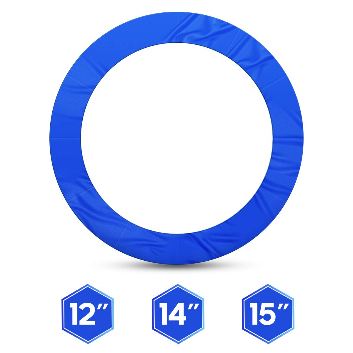 1INCH 12FT Trampoline Pad Blue Jumpking Trampoline Pad Replacement Safety Pad PVC Foam Waterproof Round Spring Cover (Blue, 12 FT)