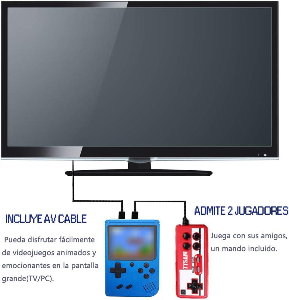 Tanouve Consola Retro, Videoconsolas Consola de Juegos Portátil con 400 Juegos Clásicos Pantalla LCD 3 Pulgadas Soporte Conectar TV 2 Jugadores para Hombres Amigos en Navidad-Azul: Amazon.es: Electrónica