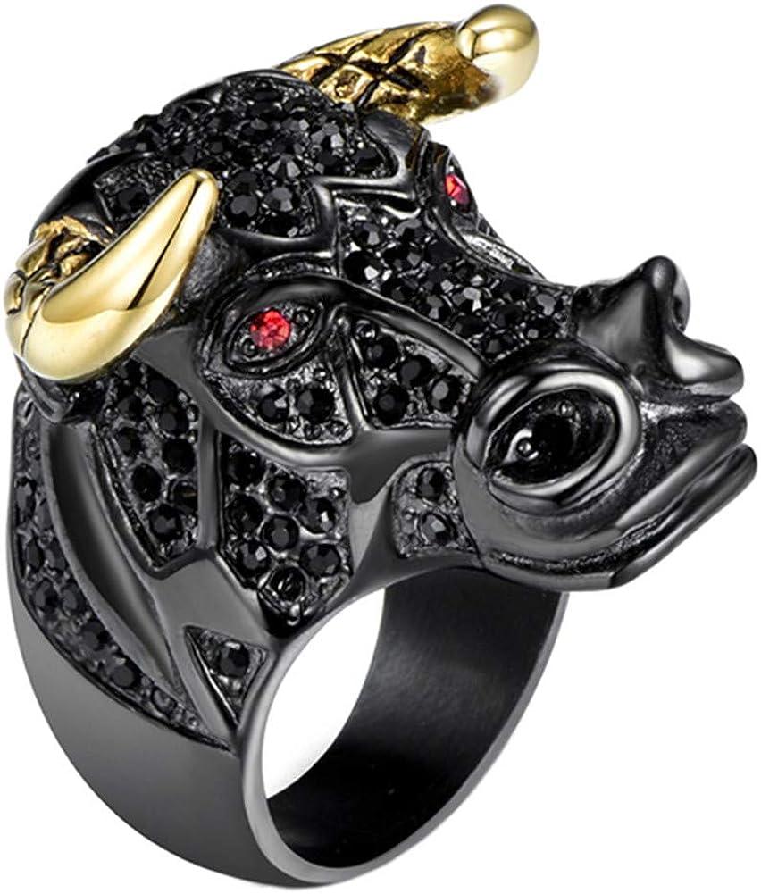 PAURO Men's Stainless Steel Cubic Zirconia Taurus Bull Tribal Biker Ring