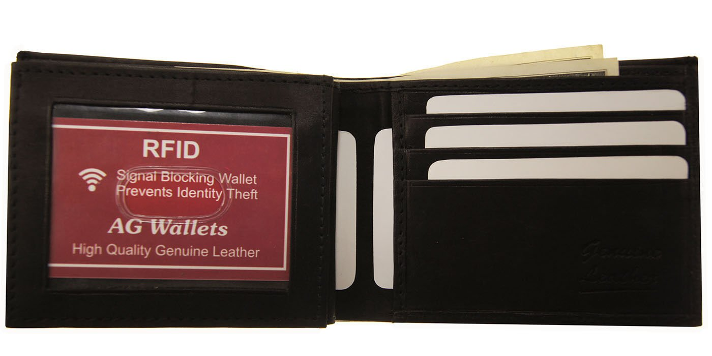 Black Mens Bifold Cowhide Leather Rfid Blocking Credit Card Id Flap Security Wallet