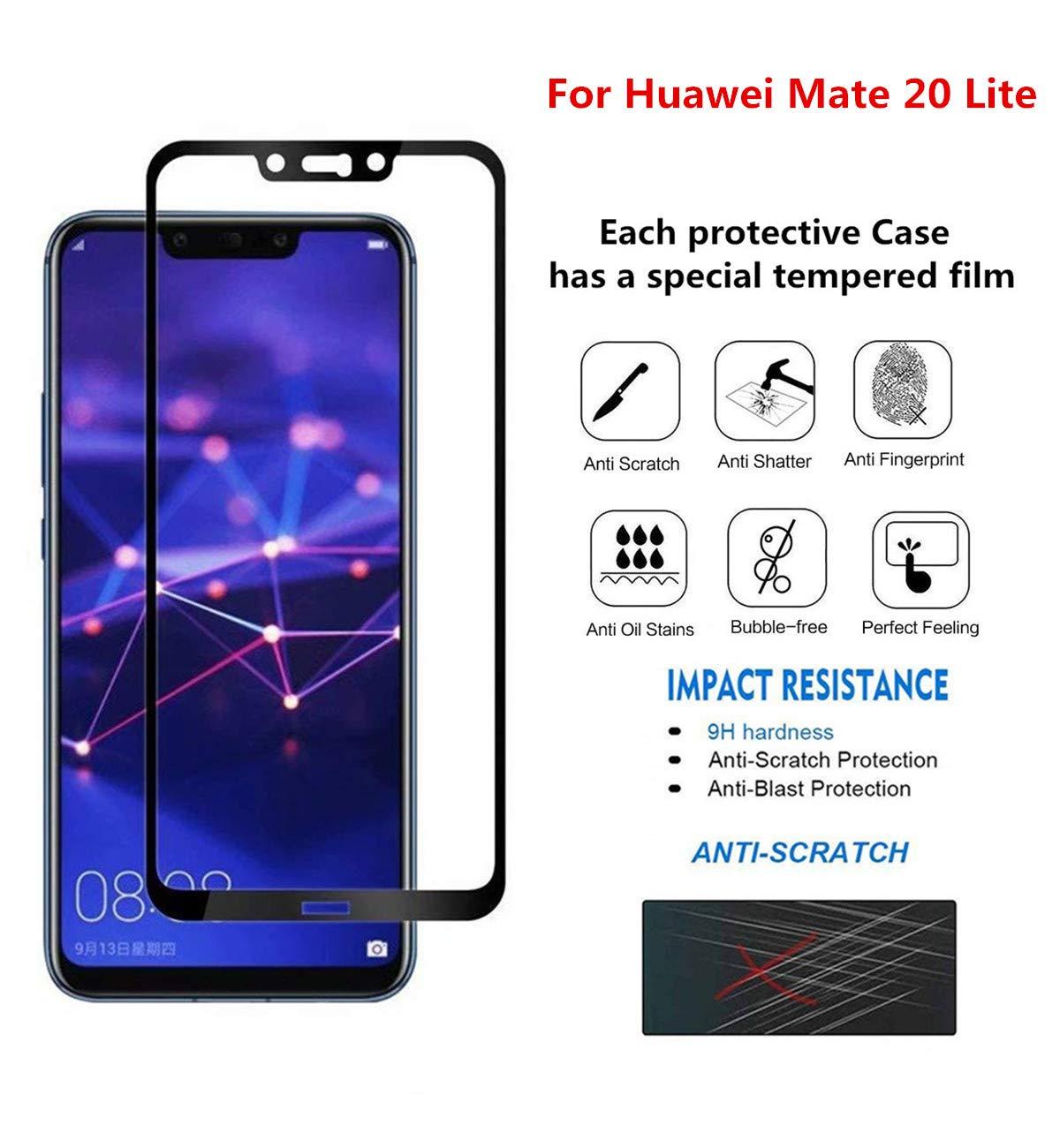 Coque pour Huawei Mate 20 Lite Golden Noir 360 degr/és Tout Inclus 3 dans 1 PC Bumper+Film de Verre tremp/é par JOYTAG-Golden Noir