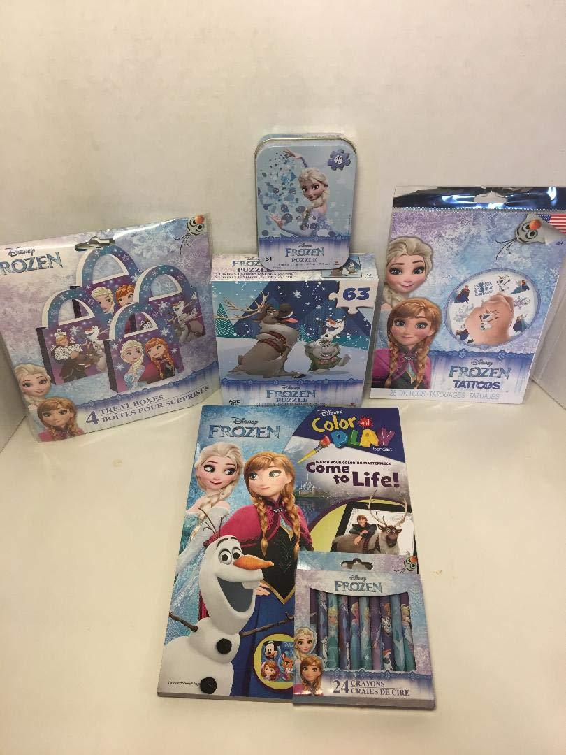 アナと雪の女王 6個。 セットには2つのライフカラーブック/クレヨン/48ピースパズル/63ピースパズル/タトゥー/4ピースが含まれます。 Surpirse Treat Boxes   B07HHJ7JQG