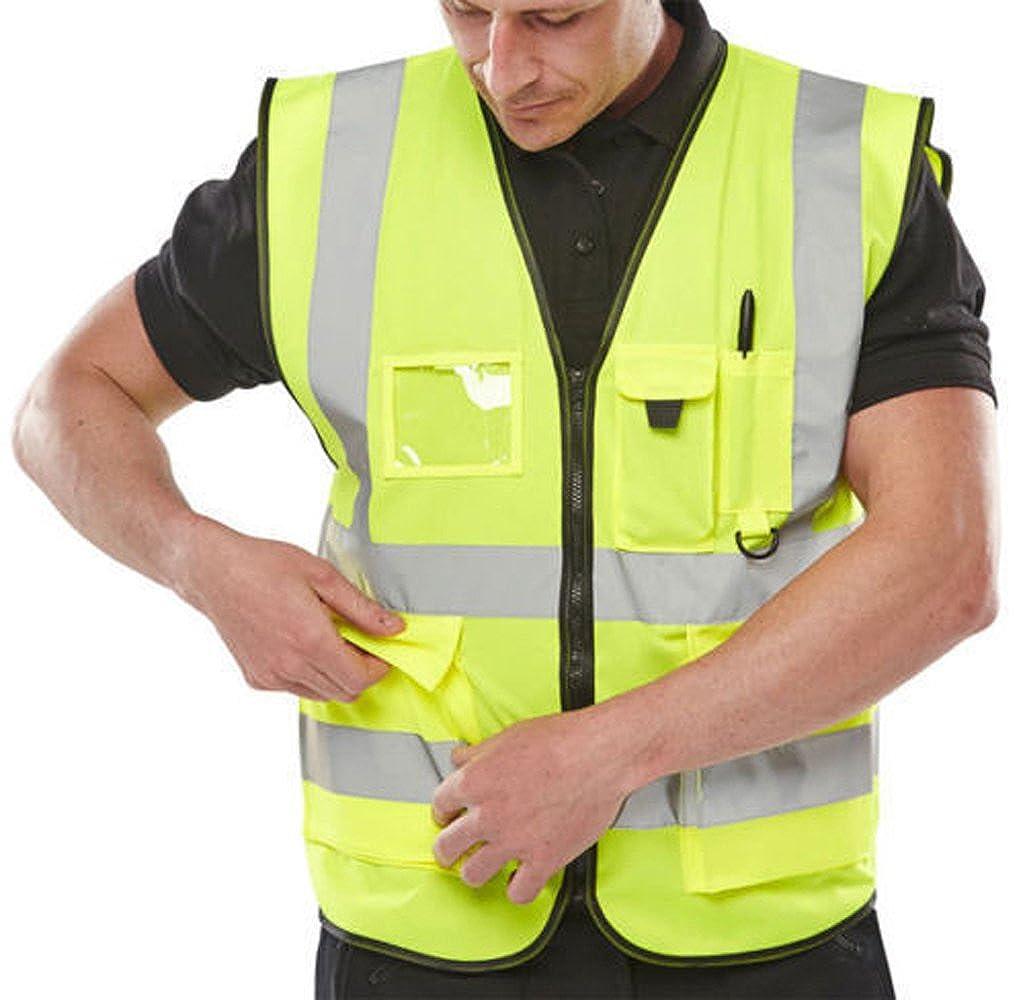 Expert Workwear Hi VIS Executive Vest Waistcoat with Phone & ID Pockets Yellow Orange - 2 Two Tone