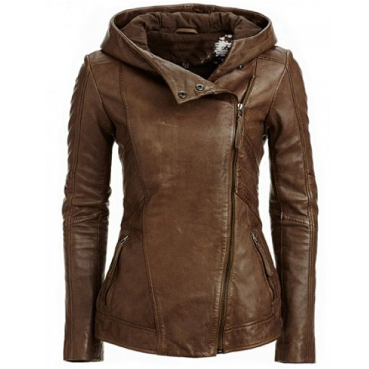 Allonly Women's Brown PU Bomber Zip Up Moto Biker Faux leather Jacket