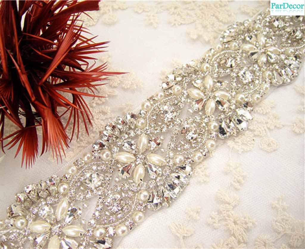 Rhinestone-Applique-Wedding Silver Rhinestone Belt Western Bridal Sash Girls Crystal Sash Floral Bridal Applique Dress Appliques Rhinestone for Wedding,Clothes,Women by Pardecor