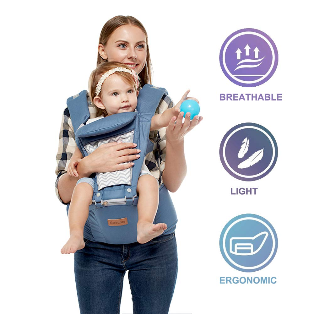JooBebe Hipseat Baby Carrier Backpack 6 in 1 - Removable Hoodie - Adjustable- for Infant, Child, Toddler - Blue WEFLAIR