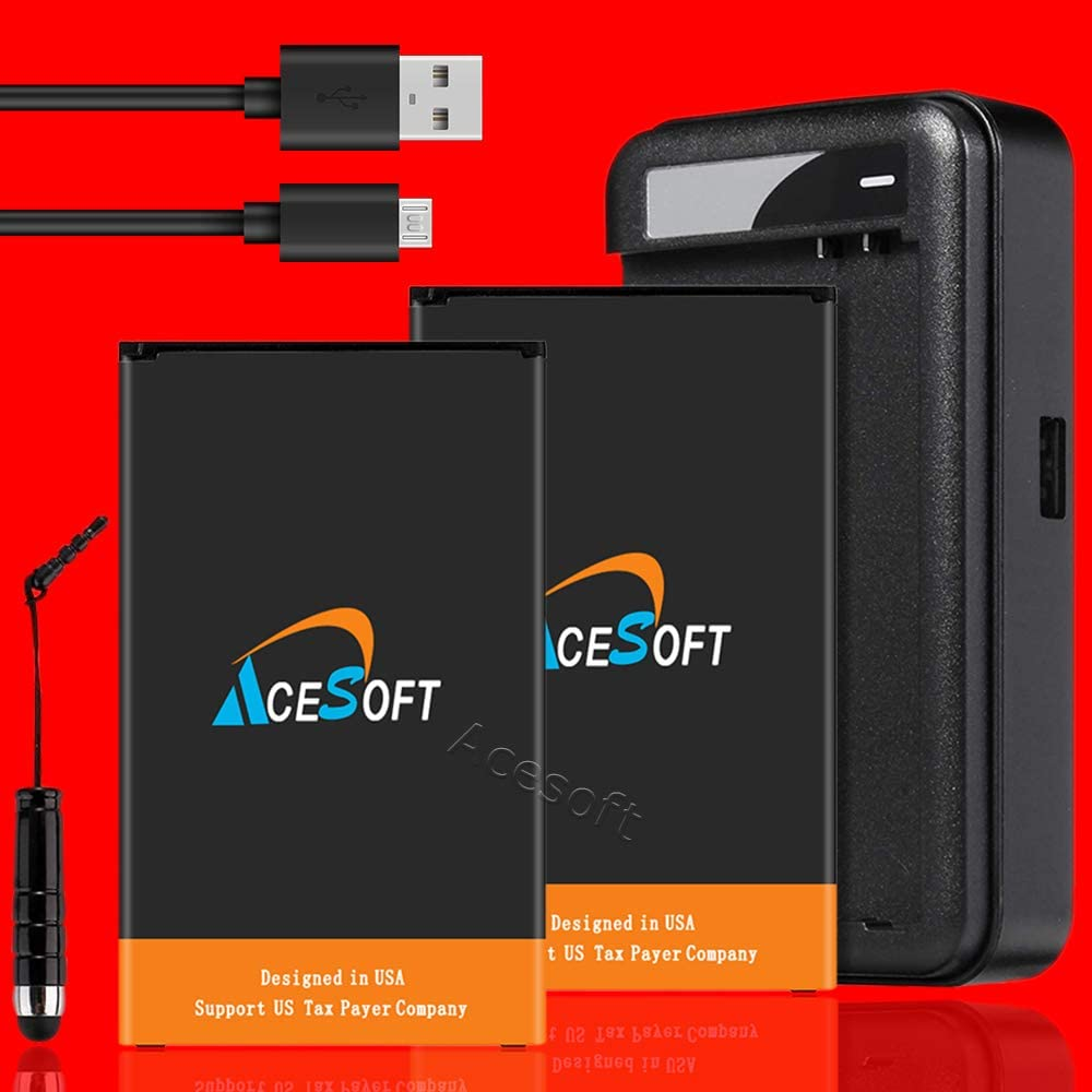 LG V20 Battery Combo Pack AceSoft 2X 4400mAh Replacement Battery Intelligent Compact Travel Dock Home Charger USB 3.1 Fast Charging Cable Connector Stylus for LG V20 VS995 Verizon Phone