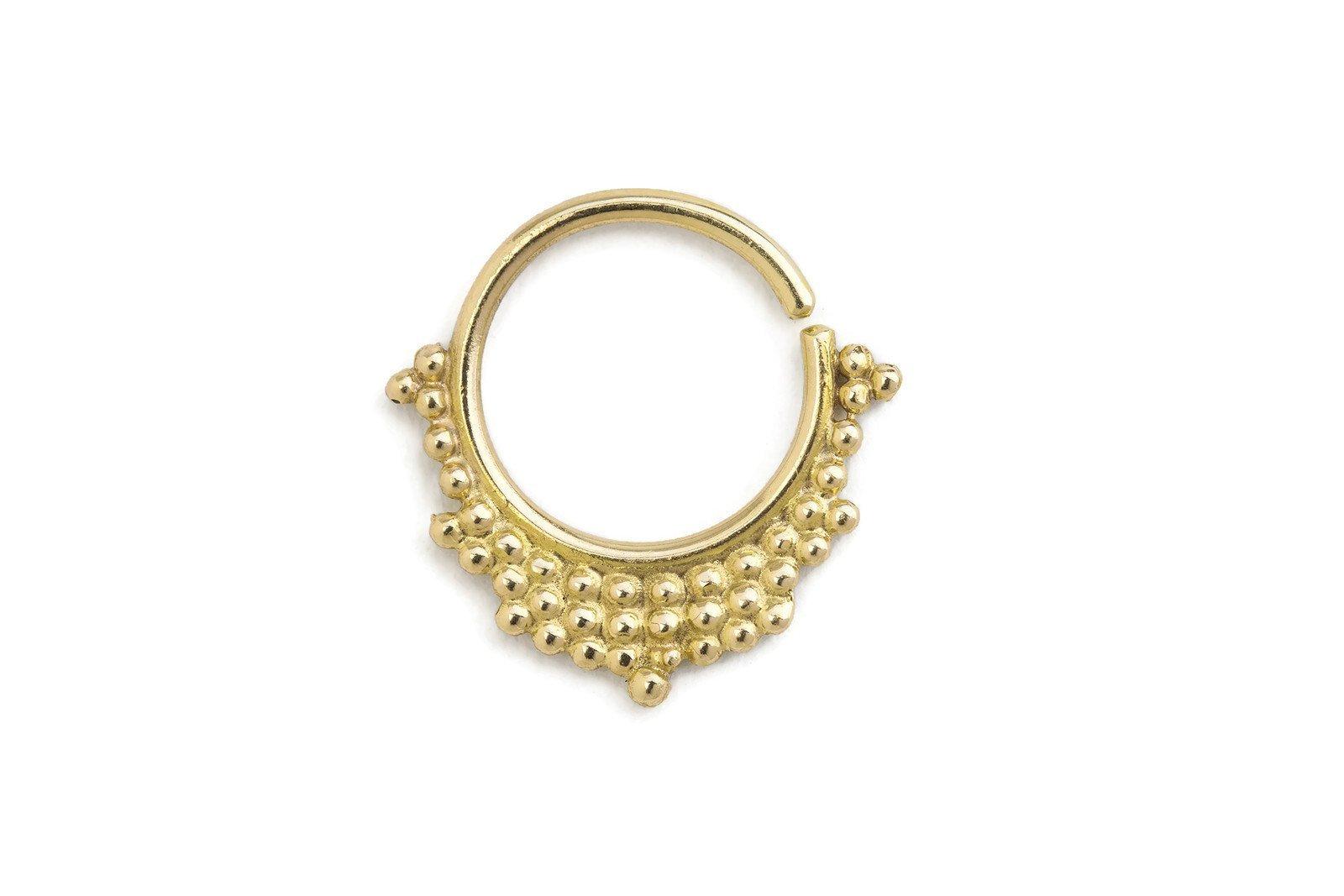 Tribal Helix Earring - Handmade Yellow Gold Degrade Ear Piercing Jewelry in 16 Gauge