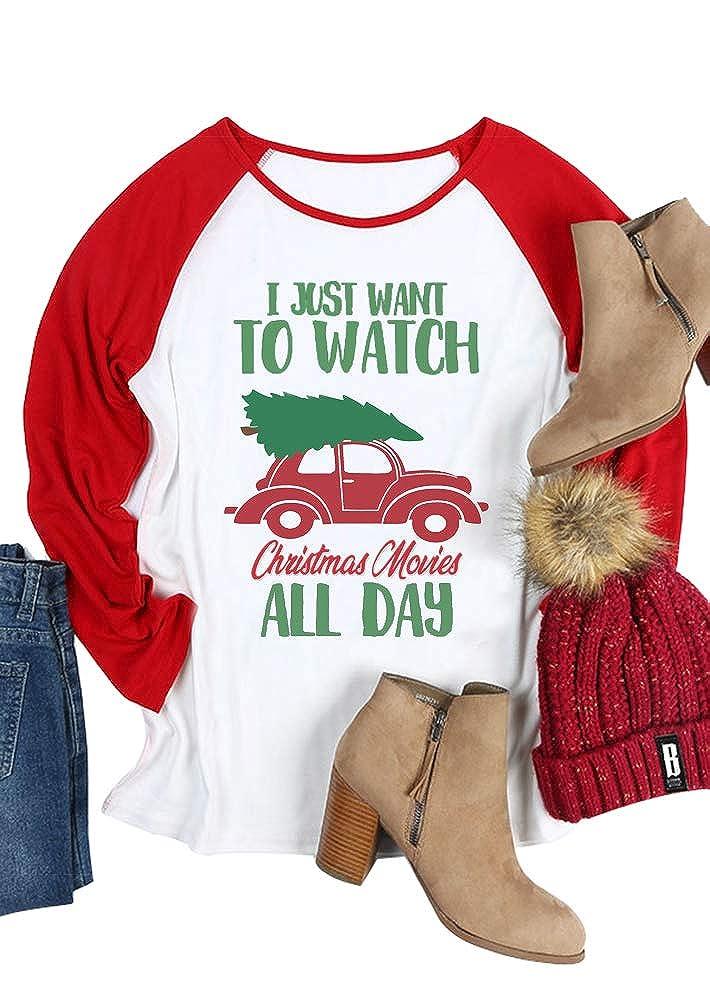 White  Women Christmas Movie T Shirt Raglan Baseball Tee Long Sleeve Casual Top