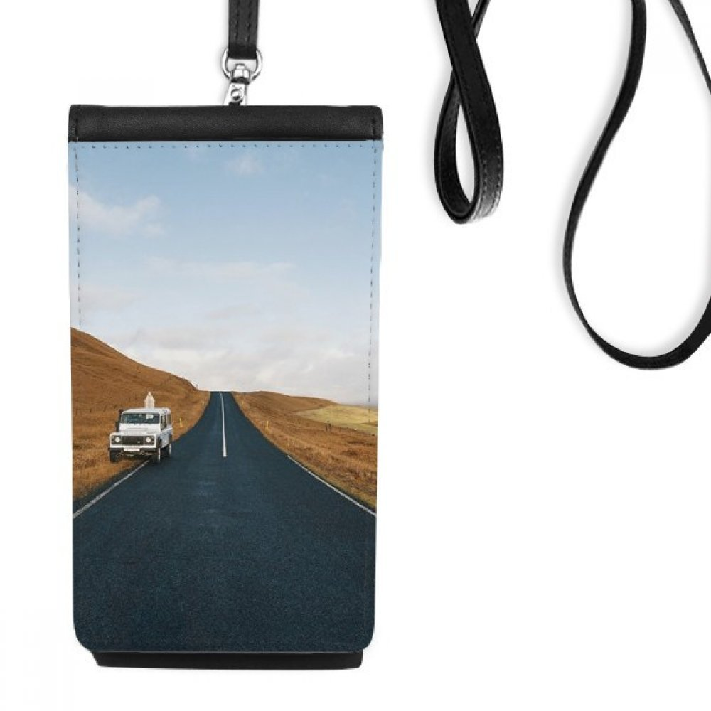 Autumn Car Country Road Travel Sky Grass Faux Leather Smartphone Hanging Purse Black Phone Wallet Gift