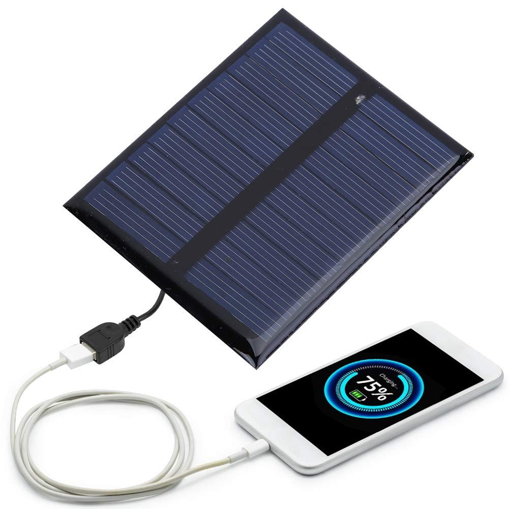 Alomejor 0.5W 5V Chargeur de Batterie /à Panneau Solaire Panneau Solaire L/éger Imperm/éable en Polysilicium pour Une Utilisation en Ext/érieur Camping Randonn/ée Voyager