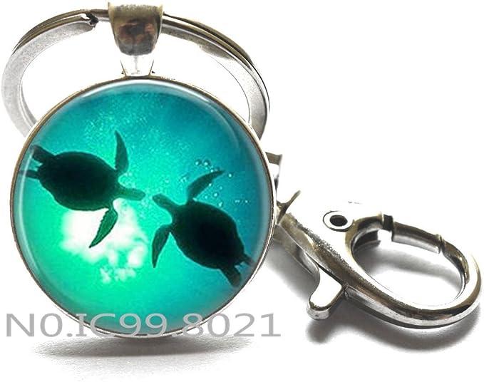 Sea Turtles Key Ring, sea turtle Keychain, aquamarine blue sea turtle jewelry Key Ring,Sea Turtle Jewelry, Turtle Keychain, Turtle Lovers Gift, Turtle ...