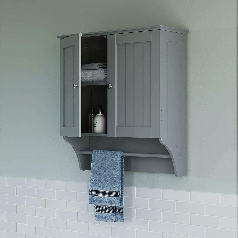 Moon Daughter Small Mini Wall Mounted Gray Wooden MDF Cabinet Storage Shelf 1 Door Bathroom