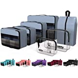 YAMIU Packing Cubes 7-Pcs Travel Organizer Accessories with Shoe Bag and 2 Toiletry Bags(Grey)