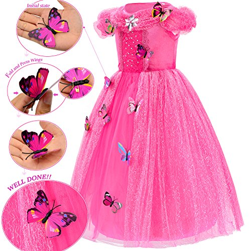 Princess Cinderella Dress Up Party Costumes with Deluxe Accessories Set 4-5 Years(Rose Red 110cm) by Party Chili (Image #2)