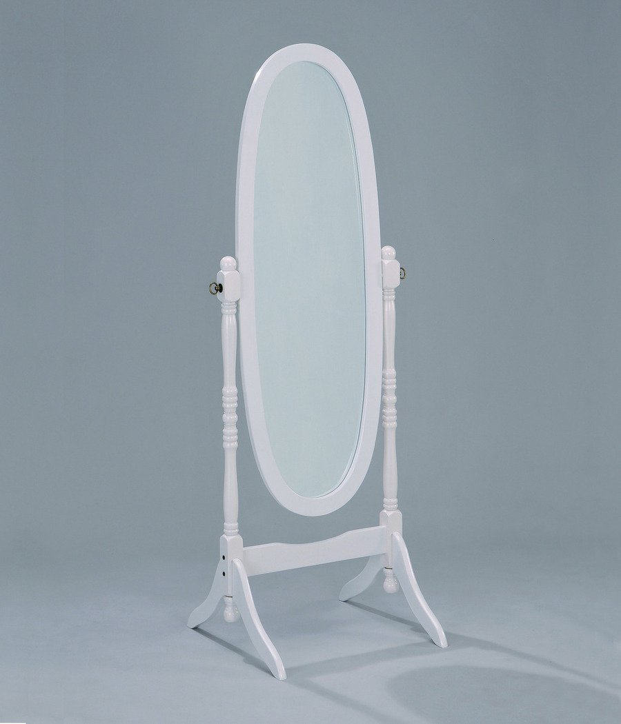 Adela White Finish Wood Cheval Mirror by Crown Mark