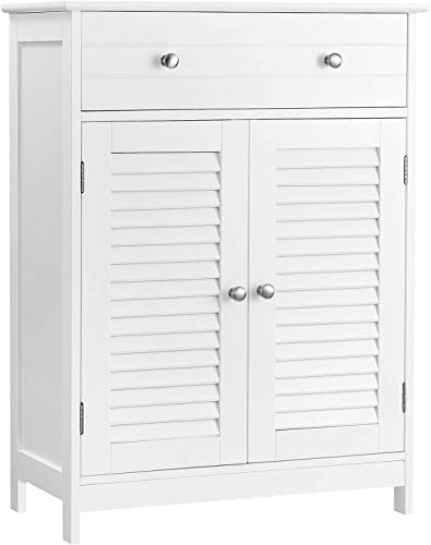 VASAGLE Bathroom Cabinet Floor Cabinet, Free-Standing Storage Cabinet, 23.6 x 11.8 x 31.5 Inches, with 2 Louvered Doors, Drawer, Adjustable Shelf, Nordic Scandinavian Style, Matte White UBBC51WT