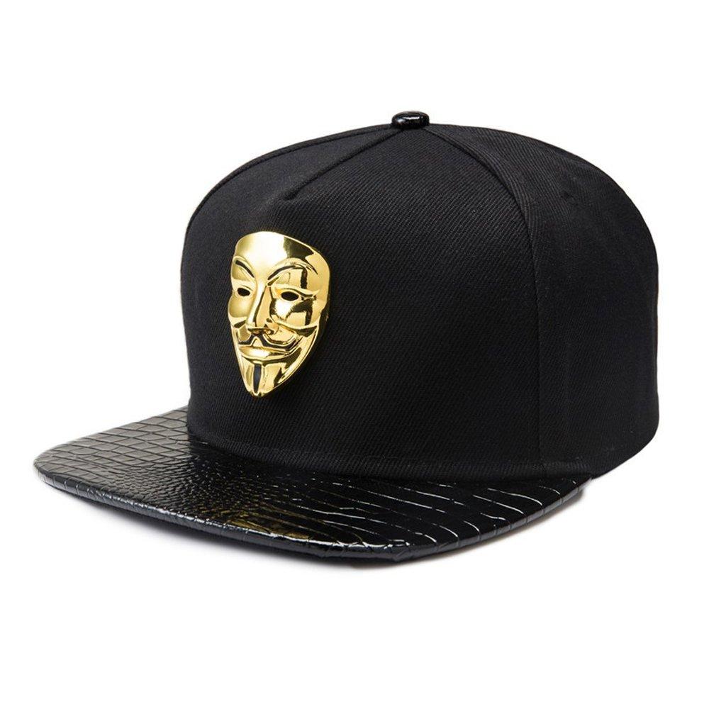 Baseball Cap for Men Black Hip-hop Style Flat Brim Baseball Cap Women Sun Hat Snapback Hat for Boys (Gold Vendetta Mask Badge Cap, Cotton) by YOYOMA