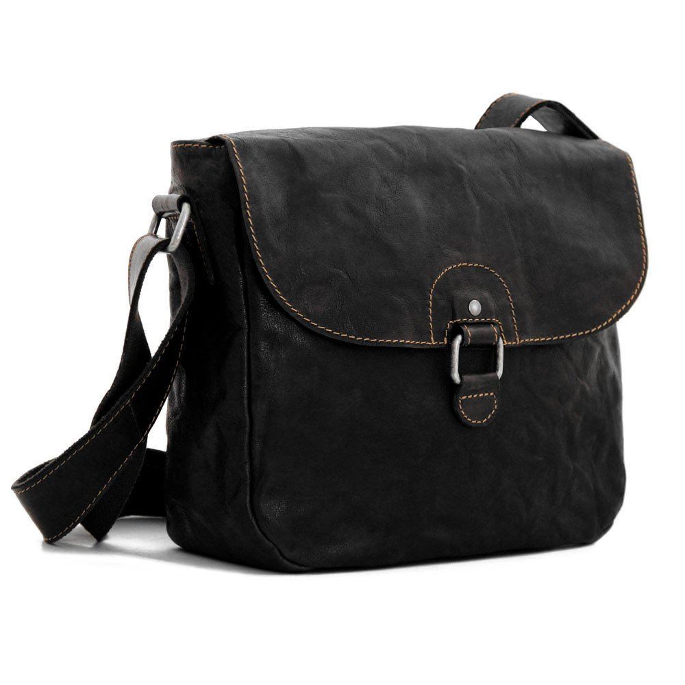 Jack Georges Voyager Saddle Bag, Leather Shoulder Bag in Black by Jack Georges