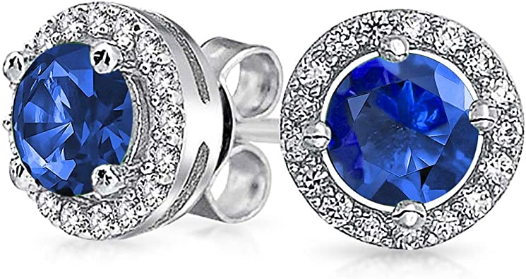 Womens /& Girls 4MM TO 8MM Heart Shape Created Blue-Sapphire Solitaire Stud Earrings with 14K Black Rhodium Plated