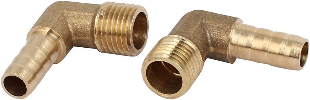 sourcingmap 1//8Filettatura maschio BSP 6mm diametro tubo ottone raccordi portagomma connettori accoppiatori 2Pz