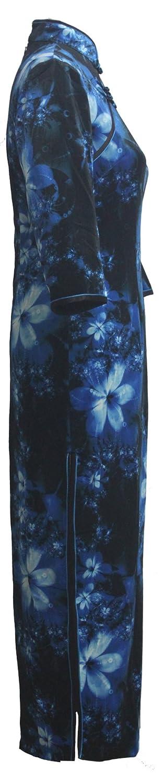 7Fairy Women's Black & Blue Chinese Floral Printed Velvet Long Dress