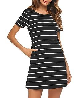 8c91842cfa Poetsky Womens Short Sleeve Striped Pockets Criss Cross Back T-Shirt Tunic  Mini Dress