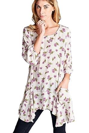 544329d79 Jodifl Women s Floral Bohemian Asymmetrical Boho Chic Tunic Top Blouse  S   at Amazon Women s Clothing store