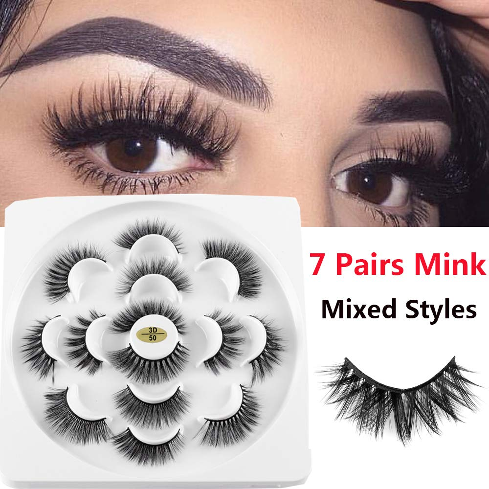 3e07a2be26c Amazon.com : 7 Pairs Minxed Styles 3D/6D Mink Hair False Eyelashes Thick  Fluffy Wispies LongLashes Handmade Eye Makeup Tools : Beauty