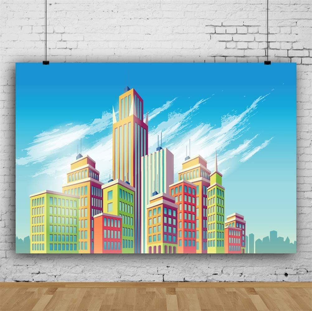 Leowefowa Cartoon Colorful Edifice Buildings Backdrop 10x6.5ft Vinyl Cityscape Photography Background Child Kids Baby Photoshoot Wallpaper Baby Bday Party Banner Studio Props