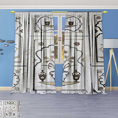 Room Darkening Grommet Window Curtains,agra utta pradesh india february inlaid work of color marble stone , Set of Two Panels, 72W x 84L Inch
