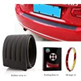 EverBrightt Trunk Rubber Protection Strip Car Rear Bumper Protector Cover with 3M Tape Black Set of 1