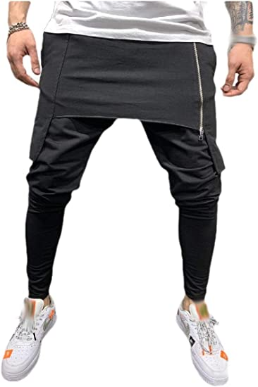 VITryst Men Solid Color Relaxed-Fit Fashion Full-Zip Mid Waist Joggers Pants