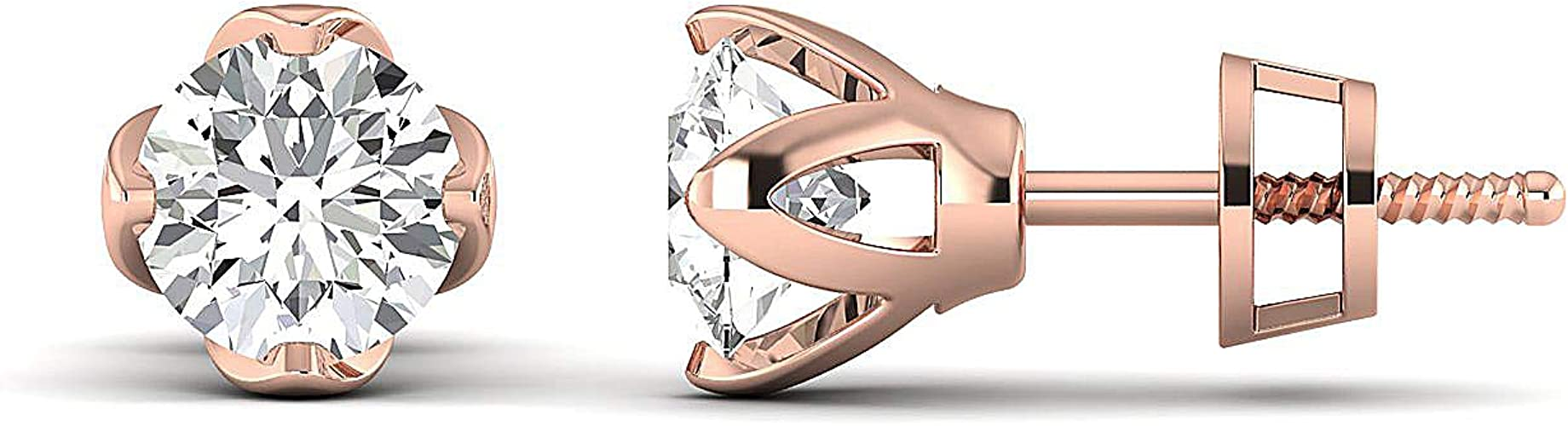 10k Rose Gold Prism Jewel 0.03CT G-H//I1 Natural Diamond Open Hexagon Shape Pendant