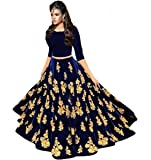 D C creation Women's Velvet Lehenga Choli (Blue, Free Size)