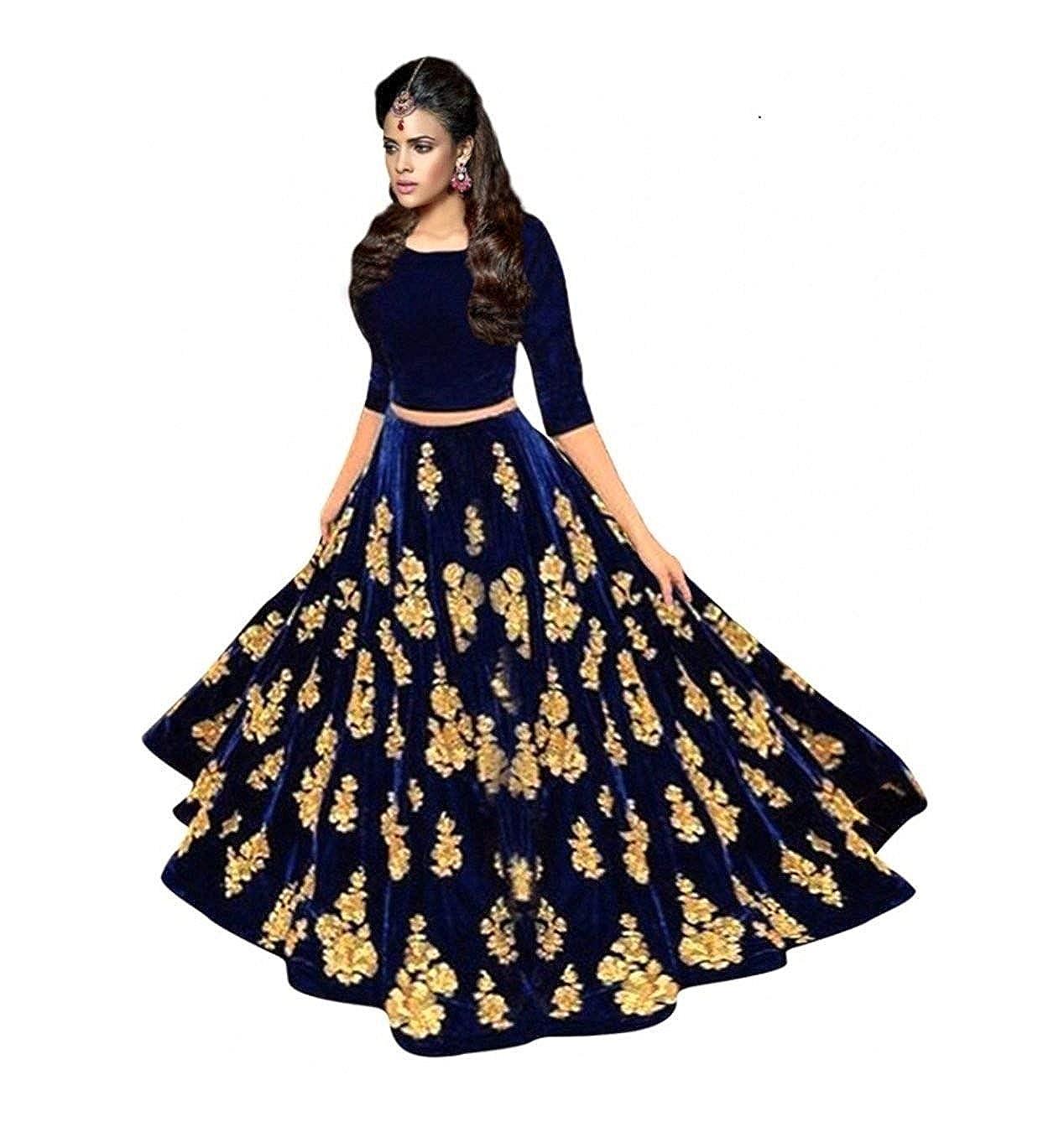 6e04700fa9 D C Creation Women's Velvet Long Skirt Gown And Top (Blue_ Free Size ...