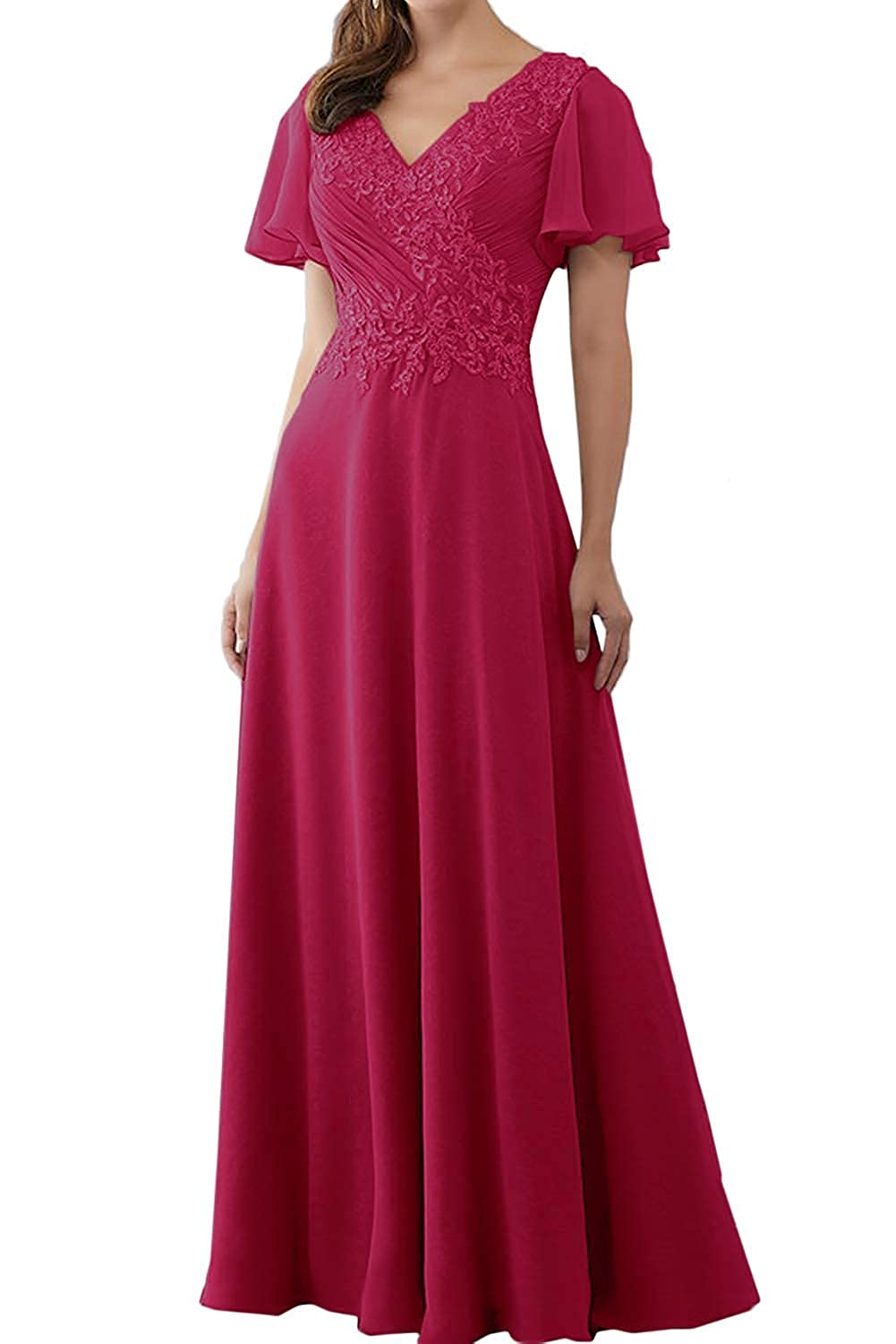 DressyMe Womens Modest Long Mother of Bride Dresses with Sleeves Pleated