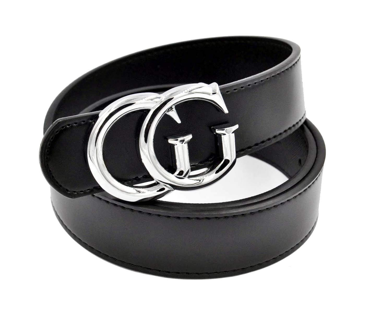 Luxury Designer GG Slim Belt for Women [3.2CM width] (Silver Buckle, 105CM [Waist Below 30''])