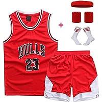# 23 Trapeze Jordan Bull Conjunto de uniforme de baloncesto para niños Chaleco a juego + Shorts Retro Rojo Traje de entrenamiento de secado rápido Sudadera Boy Holiday Gift (Juego de cuatro piezas gratis)