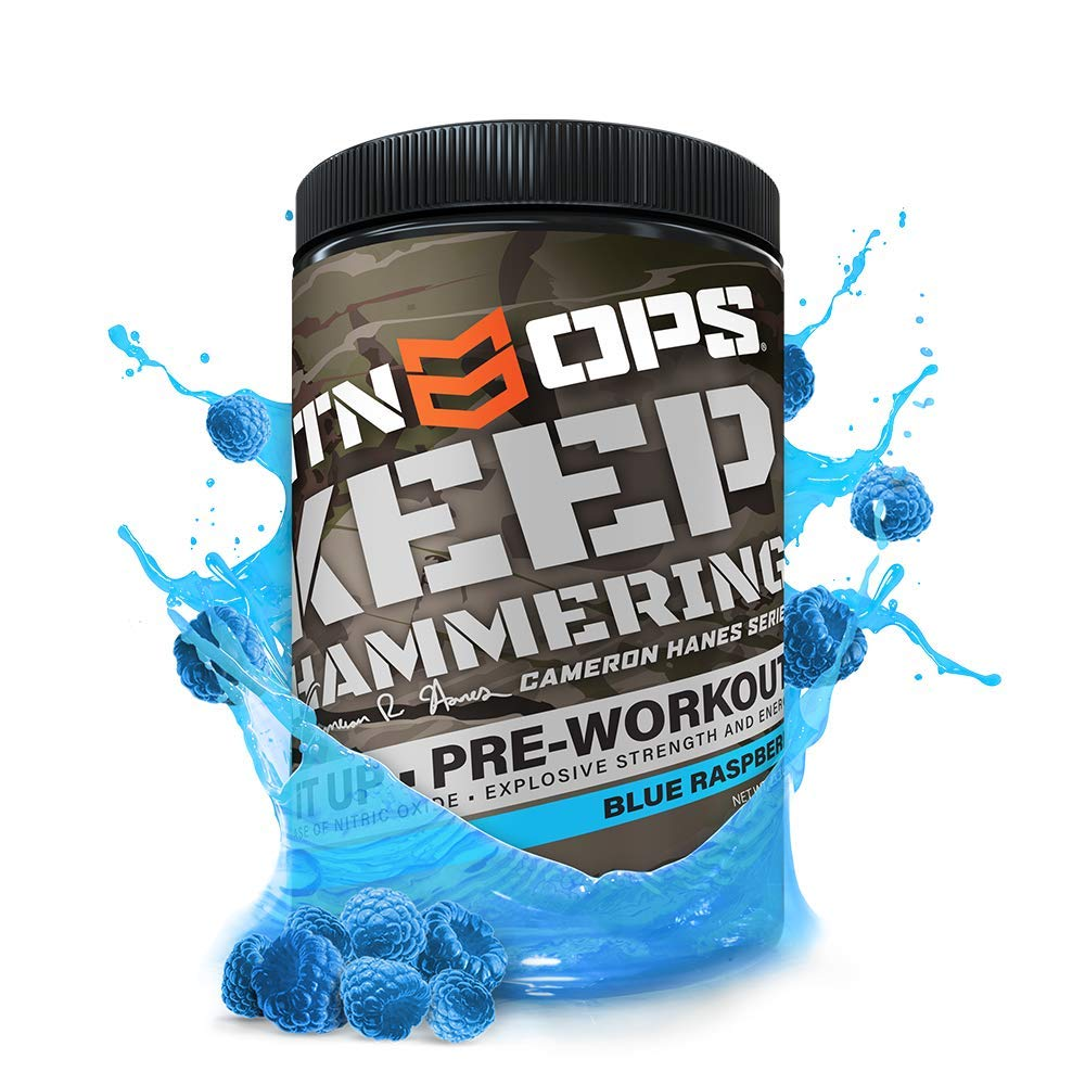 MTN OPS Cameron Hanes Keep Hammering Pre-Workout Supplement, Blue Raspberry, 30 Servings, Blue Raspberry, 23.3 Ounce