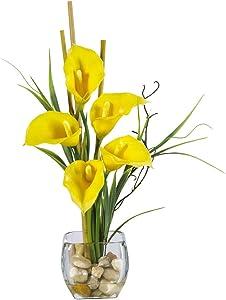 "Nearly Natural 1118-YL Calla Lilly Liquid Illusion Silk Flower Arrangement, Yellow,6.75"" x 6.75"" x 22.5"""