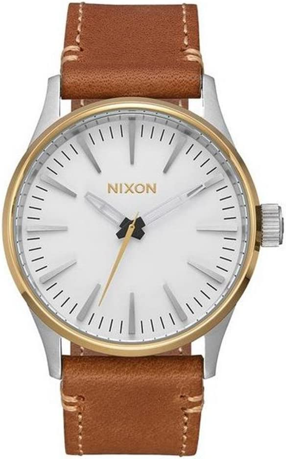 Nixon Sentry 38 Leather -Spring 2017- Gold/Cream/Tan
