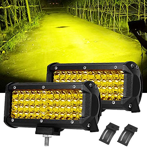 (7 Inch Led Light Bar Samlight 12v 13824 LM Quad Row Pod SpotLights Off Road Yellow Fog Driving Led Work Lights for UTV ATV Off Road Jeep Trucks Boat SUV Waterproof Lamp 2 Pack)