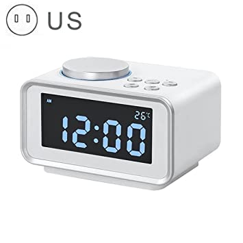 NAOZHONG 1Pcs Led Reloj Despertador Digital Radio Fm Ruidoso Despertador Para Dormilones Pesados Con Brillo De Alarma Dual Atenuador 2 Puertos De Carga Usb ...