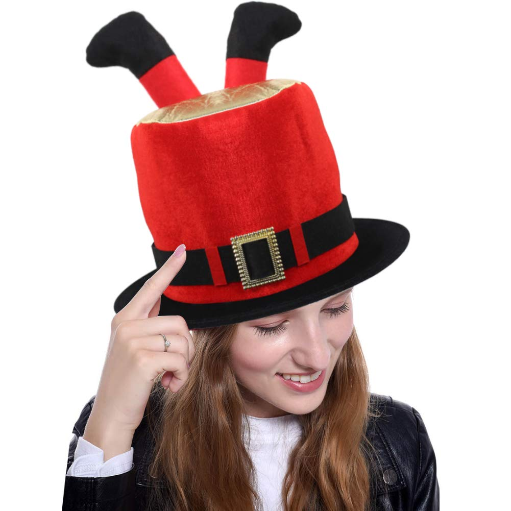FuturePlusX Plush Fabric Christmas Cylinder Hat with Two Short Pants Legs for Xmas Day, Halloween and Funny Theme Party  Price: $9.99