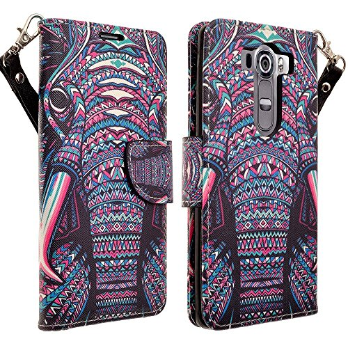 LG G VISTA 2 Case - Magnetic Leather Folio Flip Book Wallet Pouch Case Cover With Fold Up Kickstand and Detachable Wrist Strap For LG G VISTA 2 - Tribal Elephant