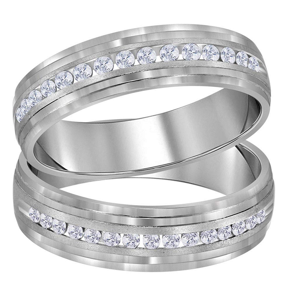 14kt White Gold His & Hers Round Diamond Band Matching Wedding Band Set 1/3 Cttw