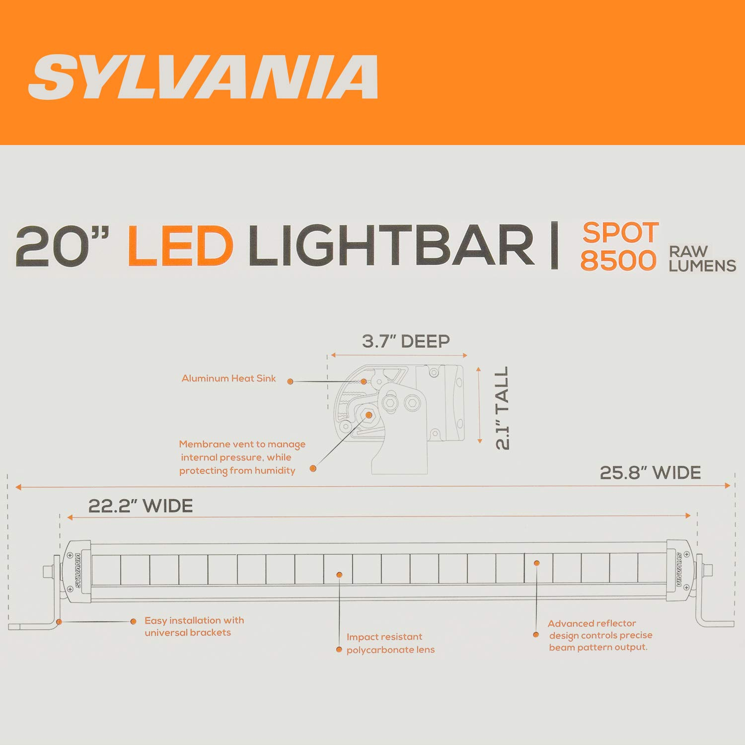 Sylvania 20 Inch Led Off Road Light Bar 72 Usable Wiring Diagram For Watts 8500 Raw Lumens 5 Degree Spot Beam Design Car Truck Jeep Boat Atv Suv