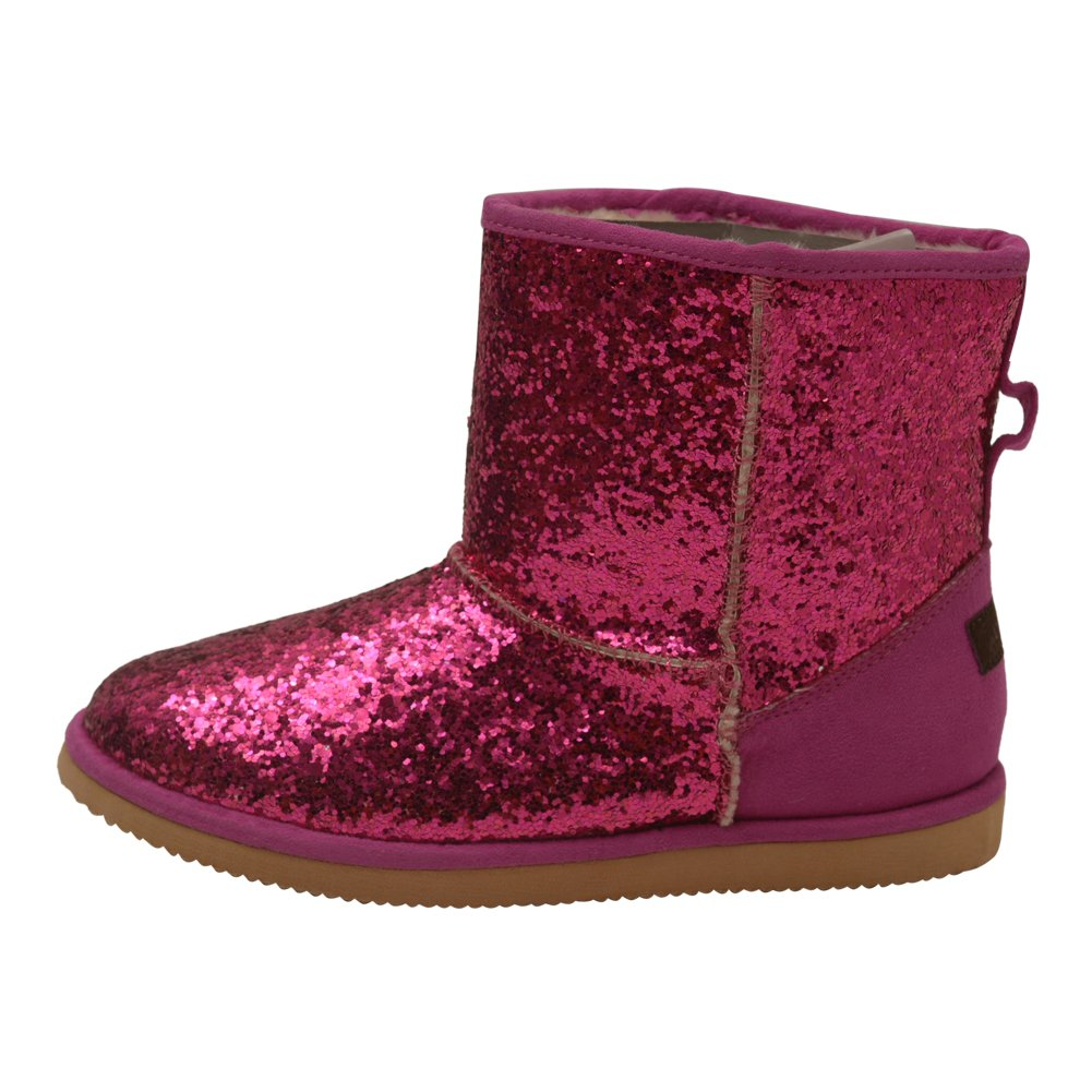 L'Amour Little Girls Fuchsia Glitter Furry Lined Suede Detail Boots 10 Toddler